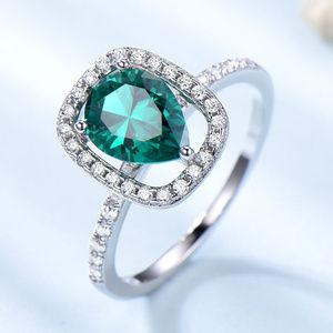 Lab Nano Emerald Engagement Ring Silver 6x8mm Pear